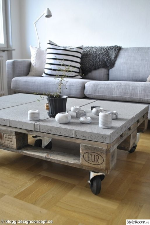 Concrete pallet coffee table