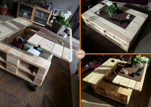 Pallet coffee table with lift top